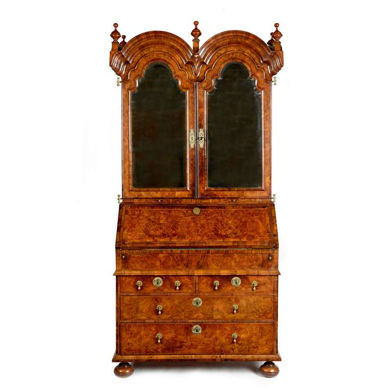 queen anne burr walnut double dome bureau bookcase at 1stdibs. Black Bedroom Furniture Sets. Home Design Ideas