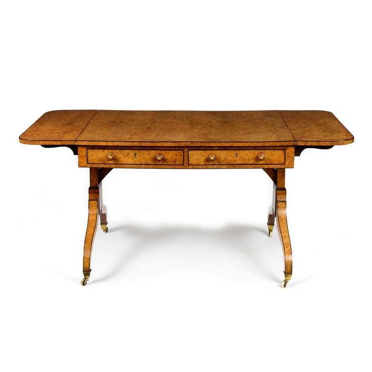 george iii pollard oak and birds eye maple sofa table at
