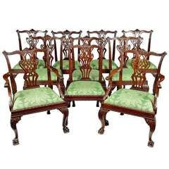 Ten George II Carved Mahogany Dining Chairs