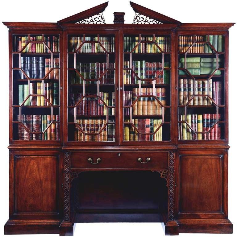 George Iii Chippendale Period Mahogany Breakfront Bookcase At 1stdibs