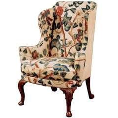 George I walnut wing back armchair