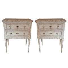 Pair of Small 19th Century Louis XVI Style Painted Commodes