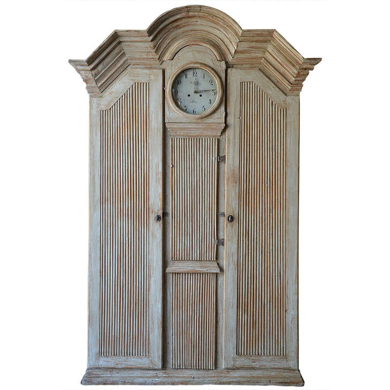 19th Century Gustavian Clock Cabinet For Sale