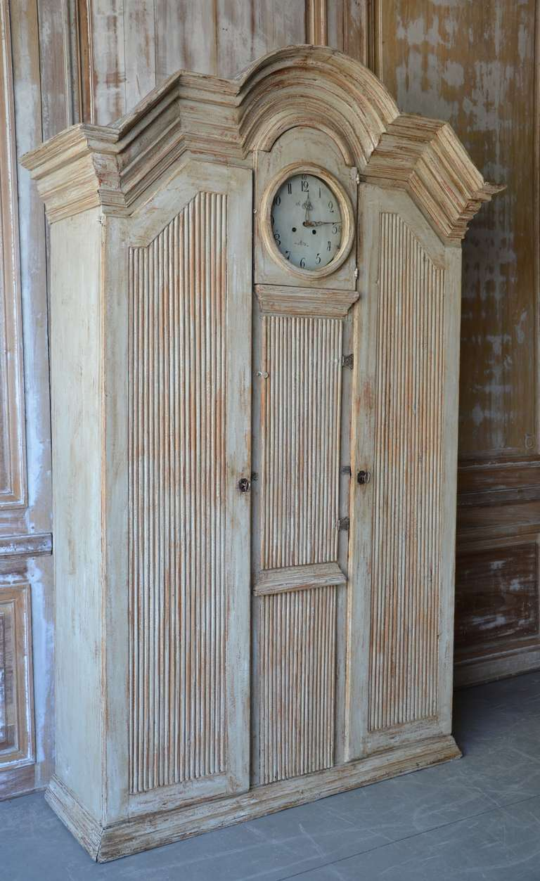19th century Gustavian Clock Cabinet with wonderful arched pediment cornice,