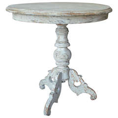 19th century Painted Small Oval Pedestal Table