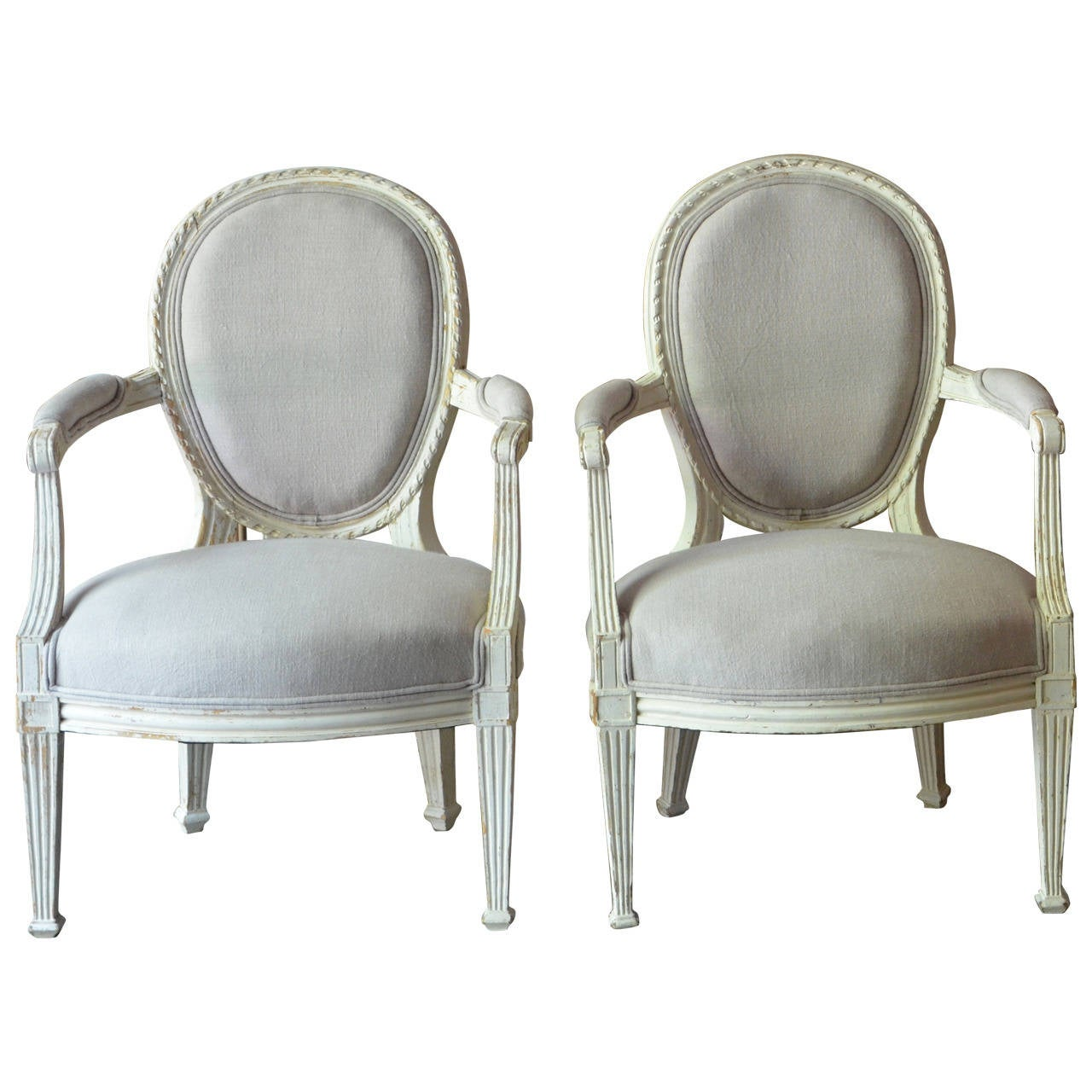 Pair of 19th Century Louis XV Style Painted Cabriolet Armchairs