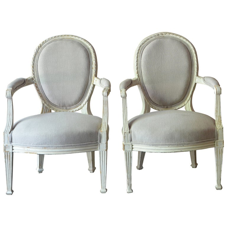 Pair of 19th Century Louis XV Style Painted Cabriolet Armchairs For Sale