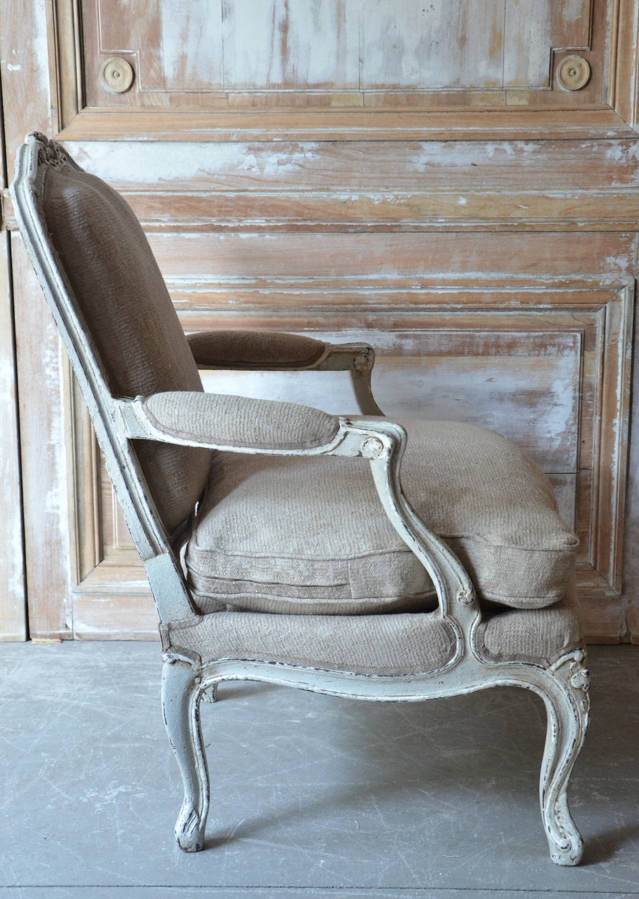 pair of louis xv style painted fauteuils at 1stdibs. Black Bedroom Furniture Sets. Home Design Ideas