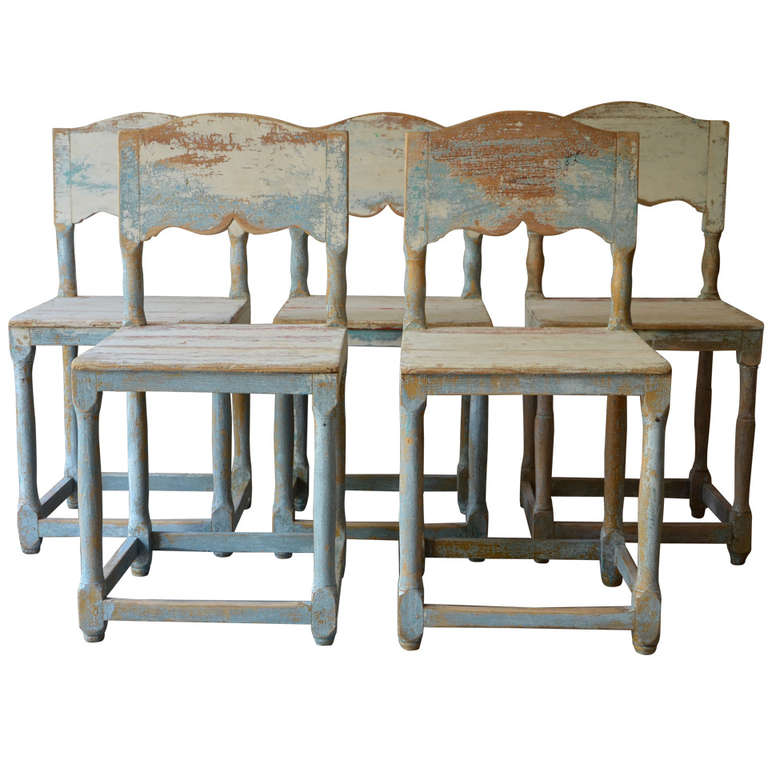 19th Century Painted Swedish Country Chairs 1