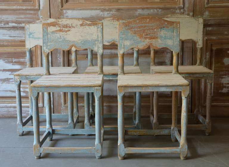 19th Century Painted Swedish Country Chairs 2