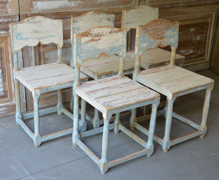 19th Century Painted Swedish Country Chairs 3