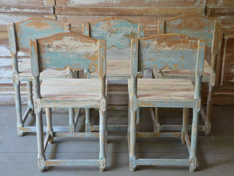 19th Century Painted Swedish Country Chairs 4