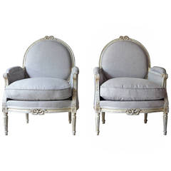 Pair of French Painted Bergères in Louis XVI Style