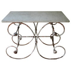 19th century French Marble Top Pastry Table