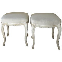 Pair of French Louis XV Style Painted Foot Stool