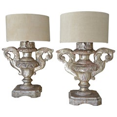 Pair of 18th Century Italian Silver Giltwood Altar Candleholders as Lamps