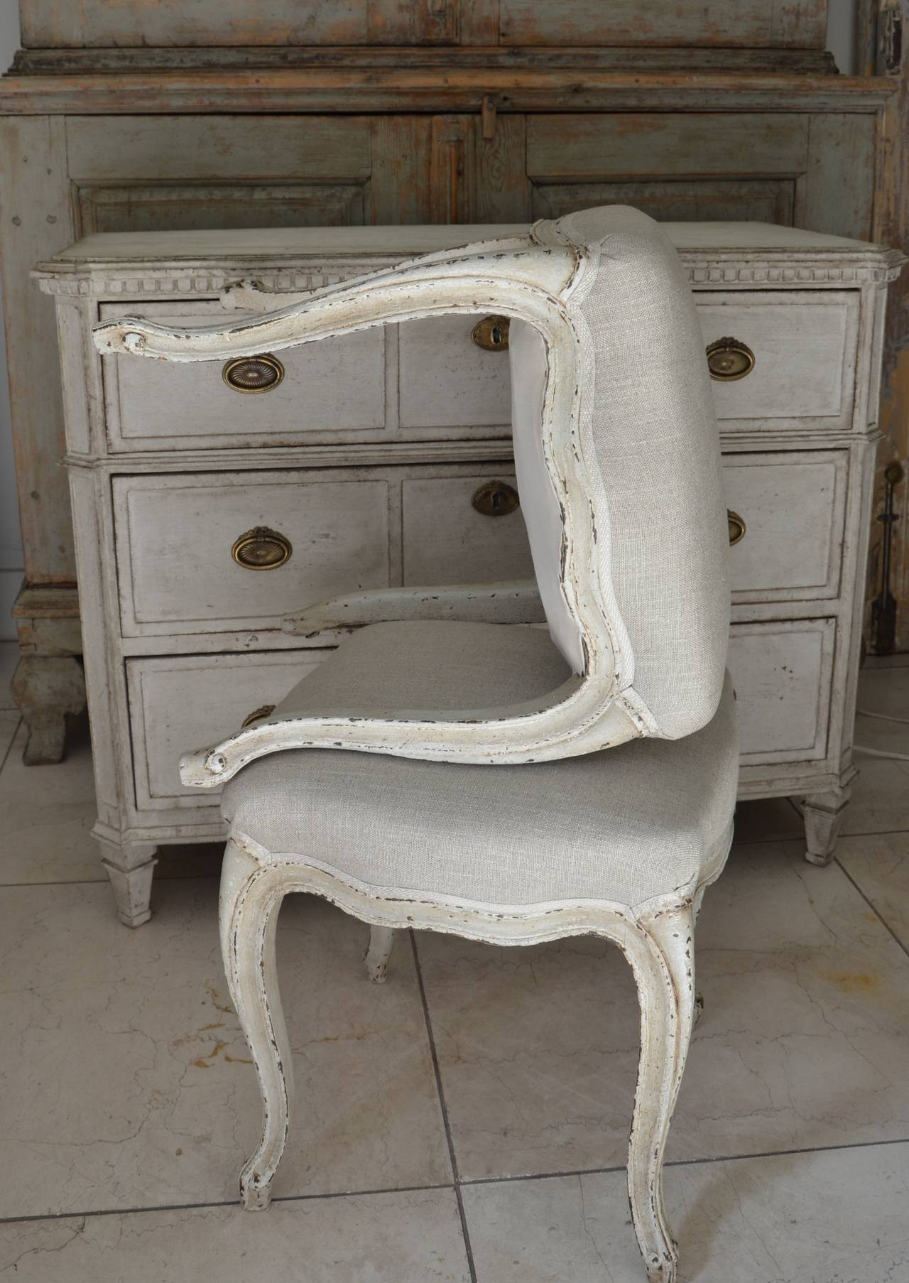 Pair of French Louis XV Style Painted Foot Stool For Sale 2