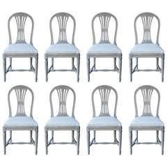 A Set of eight Swedish Painted Wheatsheaf Dining Chairs circa 1900