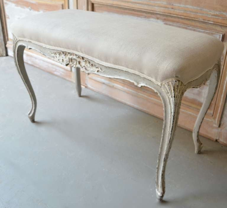 French Painted Small Louis XV Style Bench For Sale