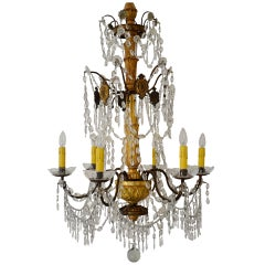 19th Century Italian Gilt Wood and Iron Chandelier