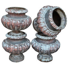 Set of Four 19th Century French Cast Iron Urns