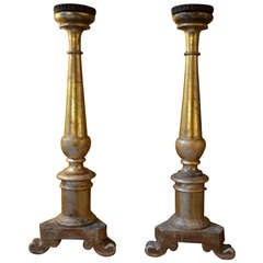 Pair of 19th century Italian Gold Gilt Candlesticks