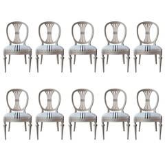 Set of Ten 19th Century Swedish Painted Wheatsheaf Dining Chairs