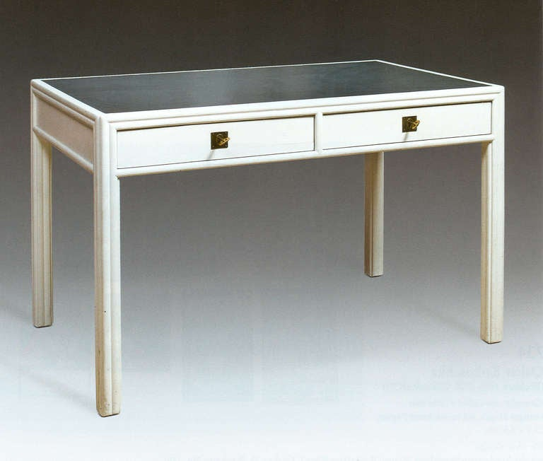 Josef Hoffmann Desk, Painted in White with Grey Leather, Designed for the WW 2