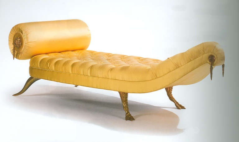 Jaba Daybed, designed 1997. Gilt bronze with fabric upholstery. Stamped Brazier-Jones Measures: Depth: 32.76 in ( 83.2 cm ), Width: 98.5 in ( 250.2 cm ), Height: 29.88 in ( 75.9 cm ), Seat height: 15.55 in ( 39.5 cm ).