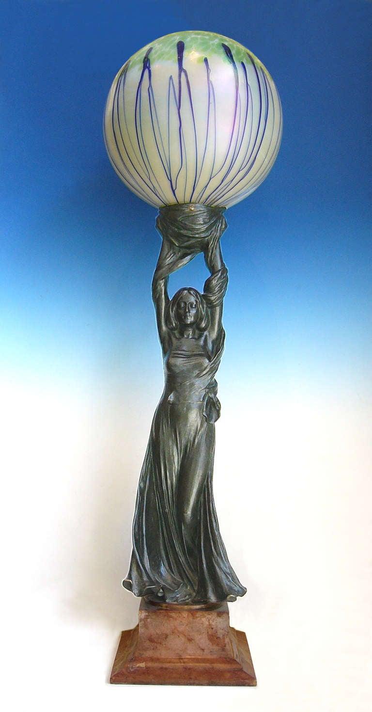 Art Nouveau Sculpture Lamp, 1901 by Gustav Gurschner 3