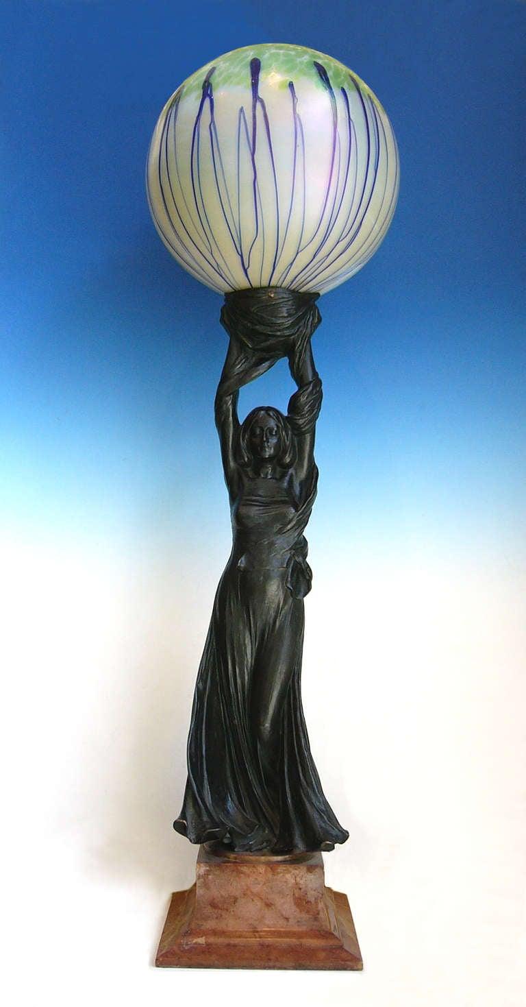 Art Nouveau Sculpture Lamp, 1901 by Gustav Gurschner 2