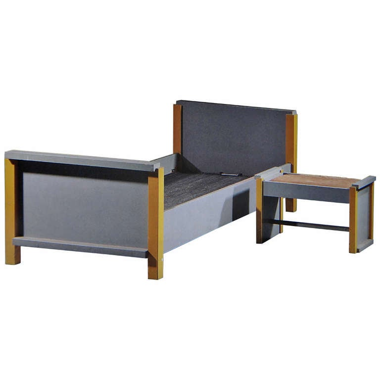 A Grey And Yellow Painted Wooden Bed And Stool For Sale At