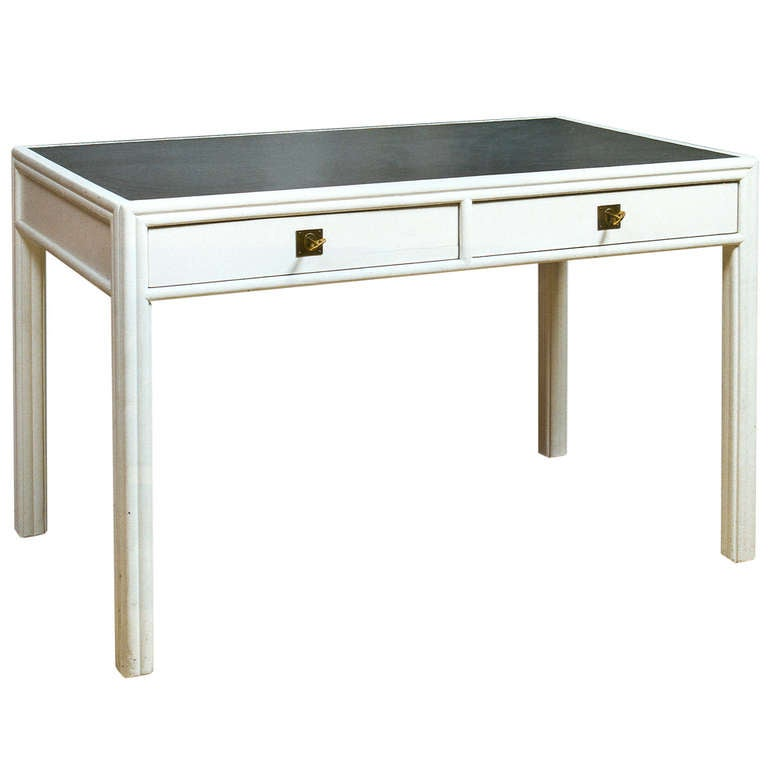 Josef Hoffmann Desk, Painted in White with Grey Leather, Designed for the WW 1