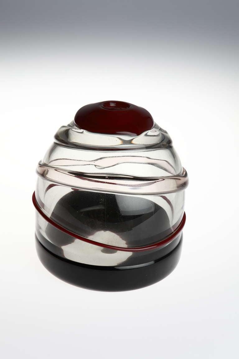 Designed by Luciano Gaspari for Salviati ( Murano, Italy ). Colored and clear applied glass.  Engraved to underside: Salviati design L. Gaspari. Silver foil label: Made in Italy Salviati EC. Murano Measures: Diameter 6.14 in ( 15,6 cm ), Height 6.69