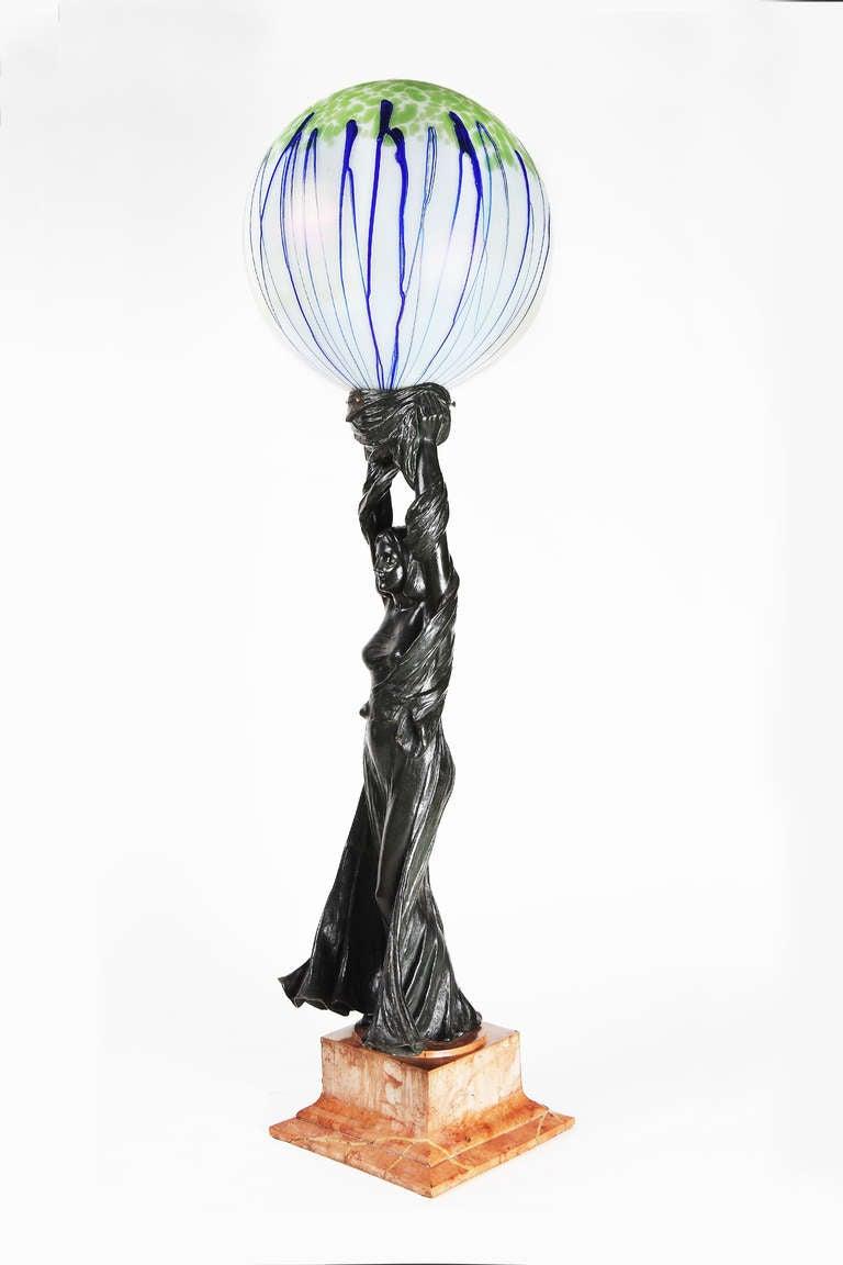 Art Nouveau Sculpture Lamp, 1901 by Gustav Gurschner 5