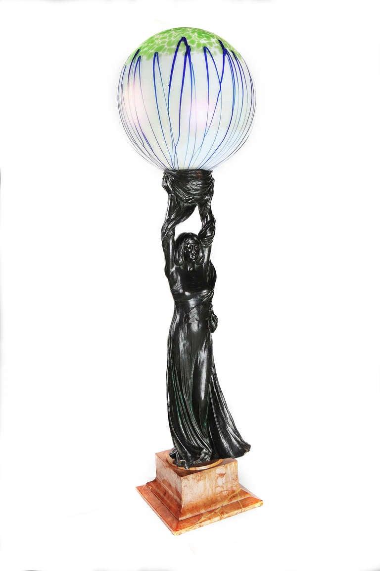 Art Nouveau Sculpture Lamp, 1901 by Gustav Gurschner 4