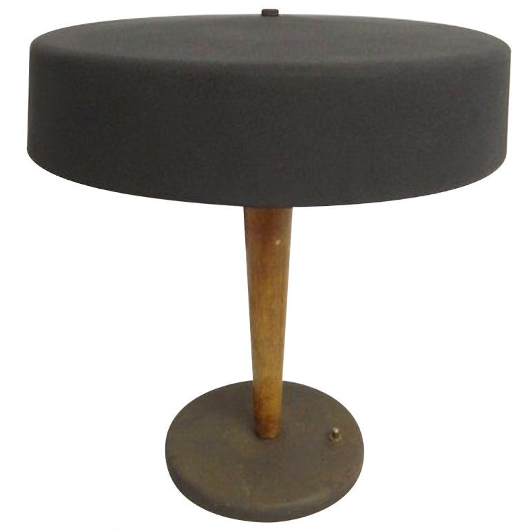 Mid Century Mixed Metal And Wood Table Lamp At 1stdibs