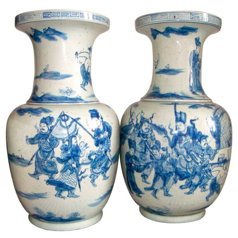 pair chinese 22 inch blue and white vases or lamp bases at 1stdibs. Black Bedroom Furniture Sets. Home Design Ideas