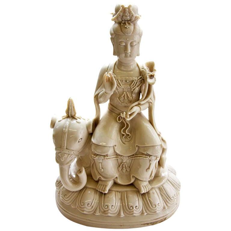 Blanc De Chine Porcelain Kwan Yin Seated On Elephant At