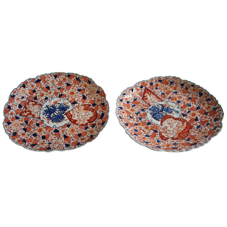 Pair Imari Oval Porcelain Ceramic Chargers At 1stdibs