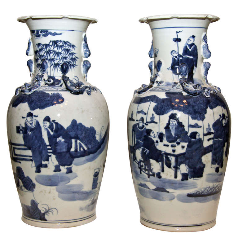 pair chinese porcelain blue and white vases or lamp bases at 1stdibs. Black Bedroom Furniture Sets. Home Design Ideas