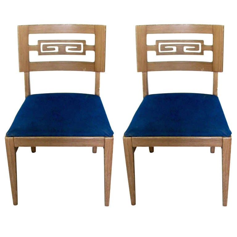 Pair of Faux Finish Chairs in the Style of James Mont at