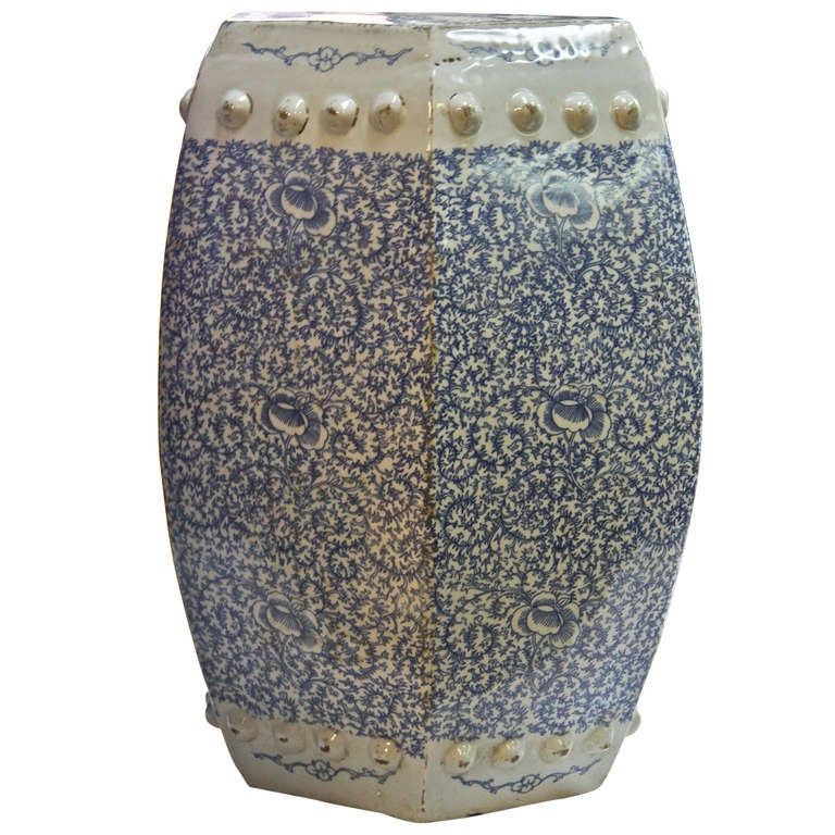 Antique Blue And White Chinese Porcelain Garden Stool At
