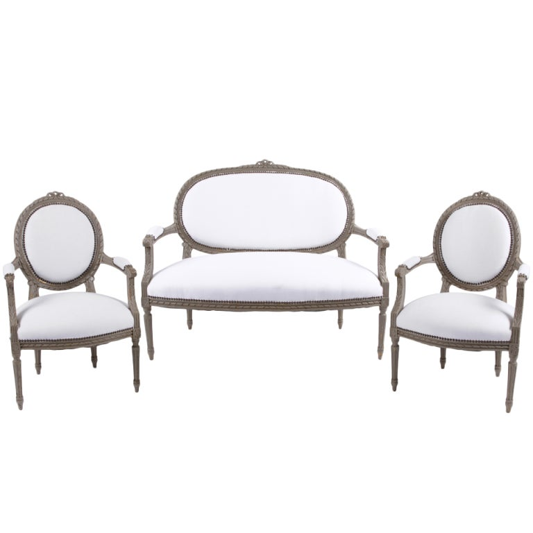 Louis XVI Salon: Canape and Pair of Fauteuils at 1stdibs