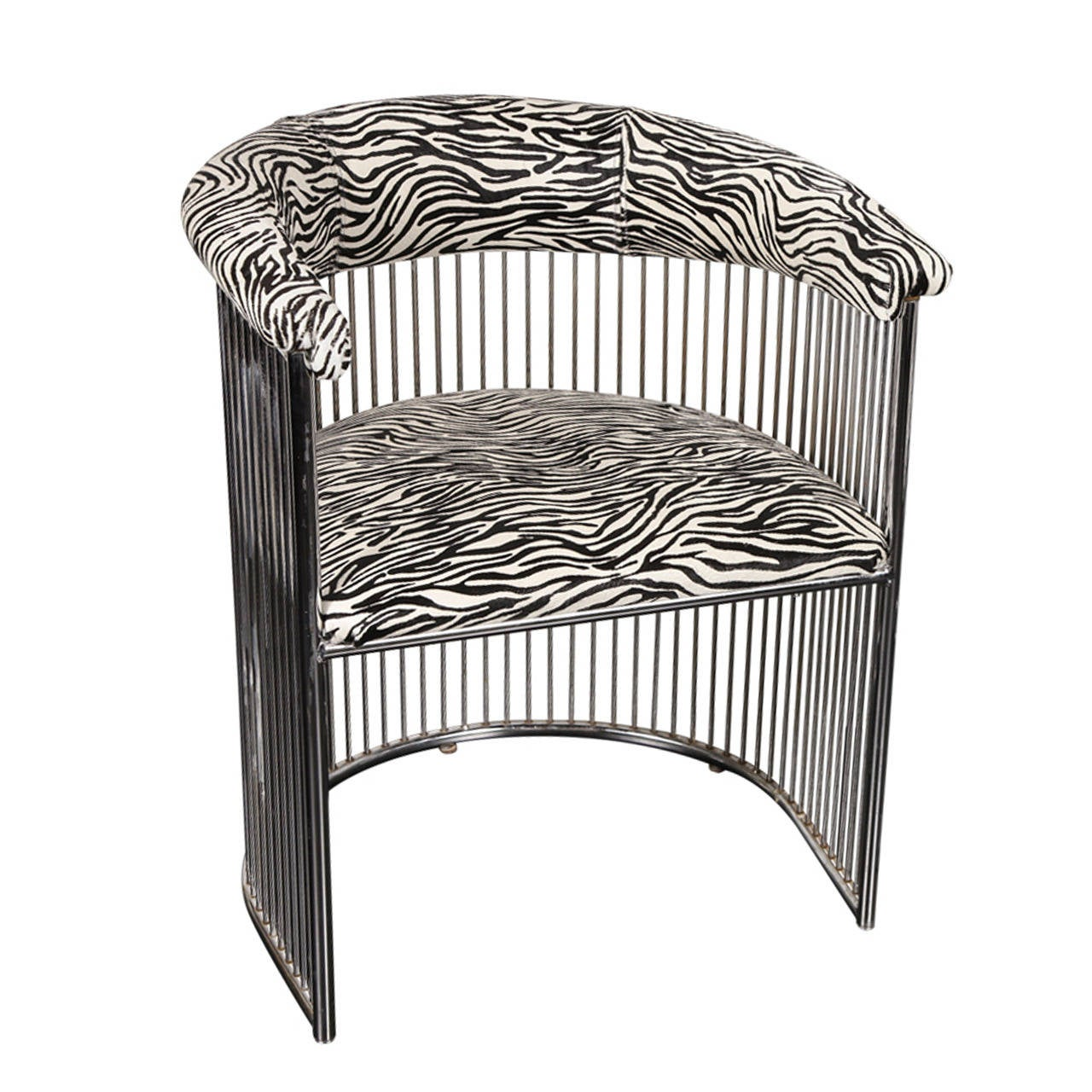 A 1960 s Chrome and Zebra Print Chair at 1stdibs