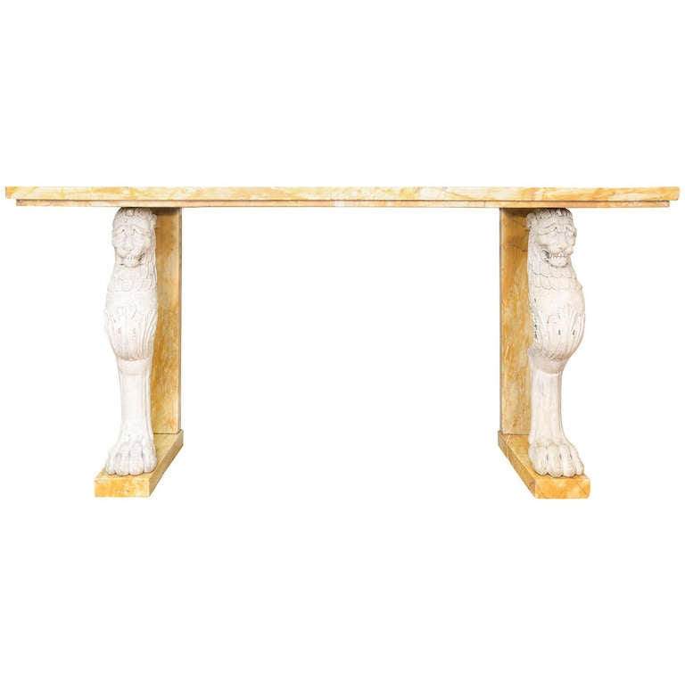 19th Century Sienna Marble Italian Console Table