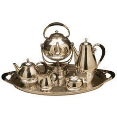 "Georg Jensen ""Cosmos"" Coffee and Tea Service No. 45 on Extra Large Tray No. 251A"