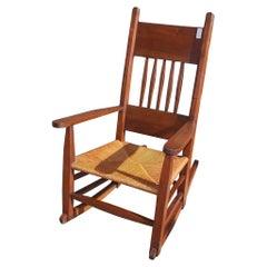 American Walnut Rocking Chair with Rush Seat. Circa 1870-80