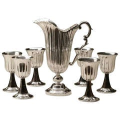 Buccellati Sterling Silver Wine Goblets and Pitcher Set with Hard Stone Stems