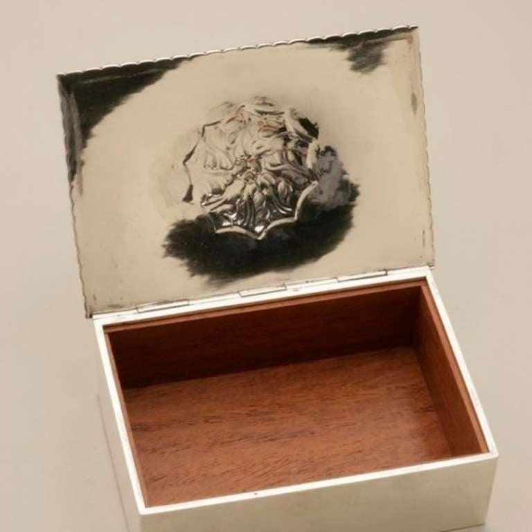 georg jensen flower rosewood lined box no 89 at 1stdibs. Black Bedroom Furniture Sets. Home Design Ideas